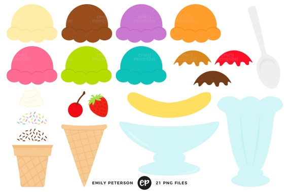 ice cream sundae clip art ice cream kit clipart build your rh etsy com