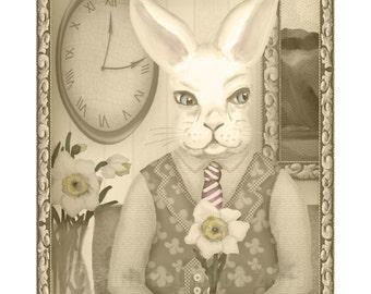 Phooka Portrait with Daffodil Print