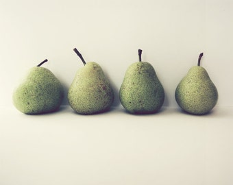 "Pear Still Life - Food Photography - Kitchen Wall Art - Pear Print - Green Pears - Fruit Art Print ""Take Four"""