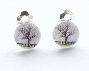 Winter Oak clip on earrings