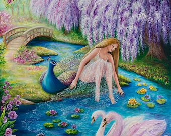 Tranquility fantasy art 27x39 20x27 13x20 canvas giclee. Print by VardaFreierLevyArt