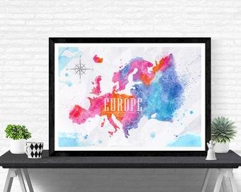 Europe Watercolor Art Print Decor Maps