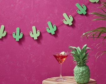Wooden Cactus Bunting, Summer Party Bunting, Hen Party Decor, Birthday Party Decorations, Alternative Wooden Wedding Decor