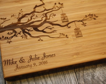 Love Birds, Wedding Gift, Personalized Engagement Gift, Personalized Cutting Board Tree, Personalized Wedding Gift Cutting Board