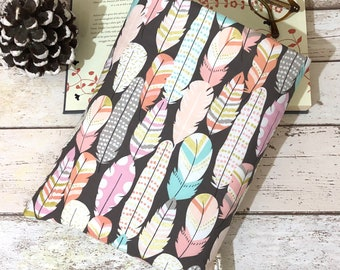 XL Metallic Feather Book Sleeve, Multi Hardback Book Carrier, Pastel Book Buddy, Book Lover Gift, Bookish Accessory, Padded Book Bag