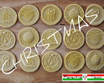 CHRISTMAS CORZETTI PASTA Stamp:  5  Various Sets = 1 Handle + 1 or 2 or 3 or 4 or 5 Stamps handturned, handcarved, in Maple of Chiantishire