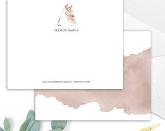 Whimsical Monogram A Printable Correspondence Card / Thank You Card with Watercolour Monogram