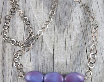 Sterling silver and periwinkle beaded necklace, modern necklace, wire wrapped necklace, silver necklace, long necklace