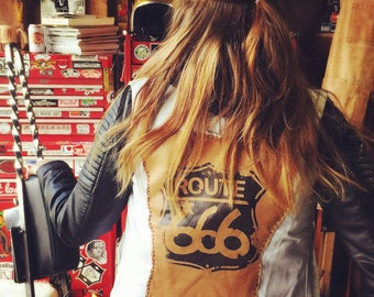 Moto child Route 666 Denim and Leather Vest