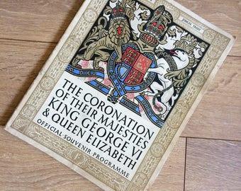 Royal memorabilia - Commemorative souvenir programme from the coronation of King George VI and Queen Elizabeth