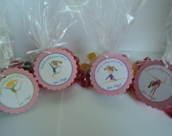 Gymnastics  Party Favor Tags - TAGS ONLY - Gymnastics Birthday Favors - Gymnast Birthday Favors - Set of 12 Tags