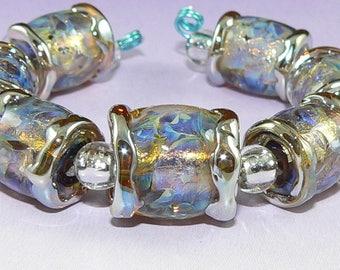Handmade Lampwork Glass bead set of 7 Fire Opal beads Silver Glass SRA