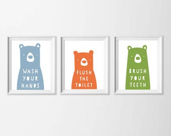 Bathroom Bear Art Printable, Bear Family Wall Art, Wash Your Hands Bathroom Rules Printable Art, Green Orange Blue Washroom Art Kids 5x7