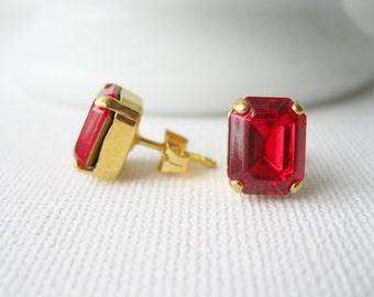 Red Stud Earrings, Crystal Rhinestone Post Earrings, Red Bridesmaid, Wedding Jewellery, Vintage Swarovski Elements Light Siam, Valentine Day