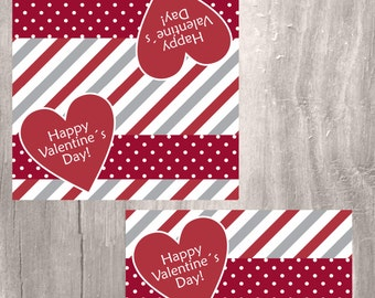 Printable Valentine Treat Bag Toppers, Happy Valentine Candy Bag Toppers, Instant Download, Printable Kids Valentine Bag Toppers