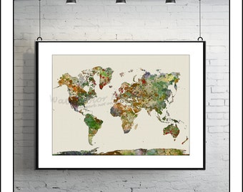 WORLD MAP, Map of the World, Large World Map, World Map Poster, World Map Print, Watercolor Map, Painted Map, Map Art, Painted Map No.9