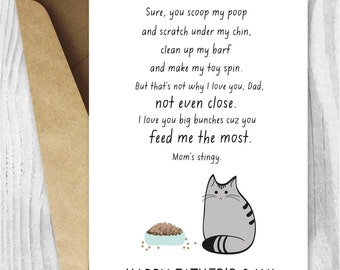 Pet Dad, Printable Father Card, Fathers Day Card, Pet Dad, Father's Day Cards from the Cat, Cat Father's Day, Fur Baby Dad Instant Download