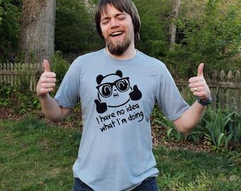 No Idea What I'm Doing Diego Nerdy Panda Stonewash Denim T Shirt