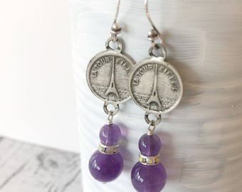 Vintage Paris Eiffel Tower Charms Amethyst Beads Sterling Silver Rhinestones Dangle Earrings French France Souvenir Handmade Assemblage