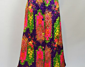 1960s/1970s Psychedelic Purple Rectangle Paisley Print Quilted Maxi Skirt