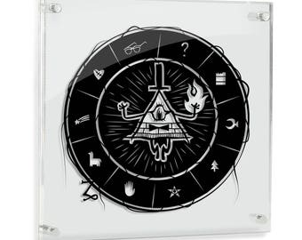 Bill Cipher Gravity Falls Dipper Mable paper cut art villain illuminati all seeing eye disney silhouette cartoon art paper handmade FRAMED