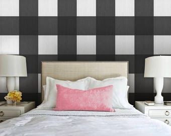 Large Buffalo Check  // Black Removable Peel 'n Stick Wallpaper