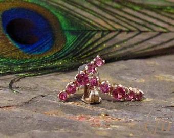 Earrings: Rhodolite Garnet Graduated 5-stone Sterling Silver Post Earrings