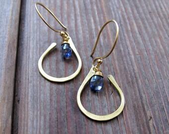 Seed Petal - Brass Stone Earrings - Periwinkle Iolite Earrings - Bridal Jewelry - Blue Earrings