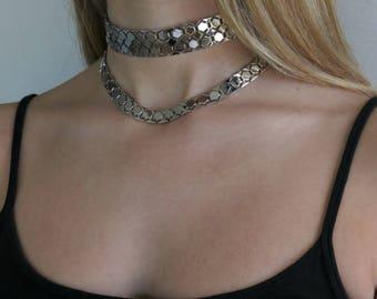 Silver Choker Necklace, Chokers, Choker Necklace, Choker Collar Necklace, Layered Chokers, Curb Choker, Thick Choker, Silver Cho
