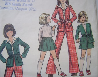 Vintage Butterick Pattern 3314  Girls Jacket  Skirt and Pants  Size  6 UNCUT