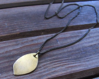 Petal Necklace - Hand forged delicate brass necklace - Minimalist Necklace - Nature Rustic Necklace - Brass Leaf Necklace