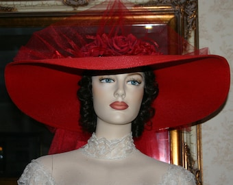 Red Kentucky Derby Hat, Victorian Tea Party Hat, Southern Belle Hat, Red Hat Society Hat, Wide Brim Hat Womens - Sweetheart of Red Cloud