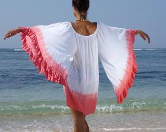 Loose fitting frill dress/Beach Tie dye Dress/Caftans/Bohemian Summer dress/Casual chic dress * MAGICAL DRESS