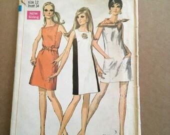 Vintage 1960's Simplicity Pattern 7679 Miss Size 12 Bust 34 Mini & Regular Length Dress sleeveless