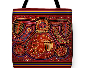 Kuna Indian Girl Mola Design Tote Bag Gift - San Blas Indian Design Throw Pillow Gift - ReUsable Grocery Bag - Airline Travel Bag- SportBag