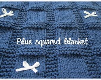 Square Block Baby Blanket Pattern - PDF Square Knitting Pattern - Square Knit Pattern Blanket - Beginners pattern