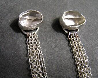 Long herkimer diamond sterling silver earrings. Raw Crystal Sterling Silver Earrings, Unique Earrings