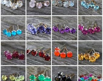 Tiny gemstone stud earrings / Small gemstone earrings / Gold filled / Sterling silver / Genuine gemstones / Birthstone earrings / For her