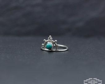Anillo boho plata y turquesa,anillo piedra luna, anillo plata, anillos originales, regalo para mujer, anillo boho