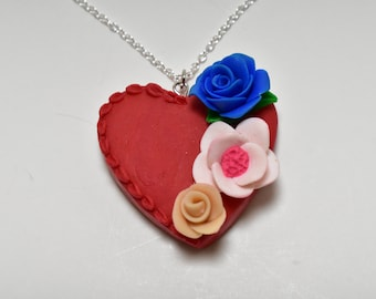 Handmade floral heart,polymer clay,red heart,handmade jewelry,heart necklace,ghift for her,fimo,summer necklace,unique jewelry