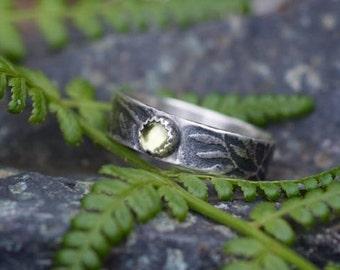 Peridot ring, rustic ring, branch ring, peridot sterling, sterling ring, August birthstone, green gemstone