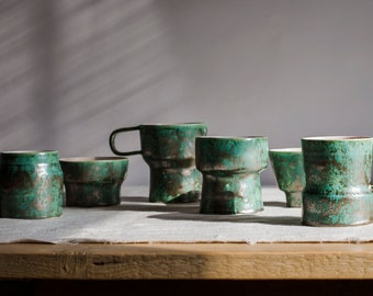 """Plates """"Marble""""Cup of tea metal green"""