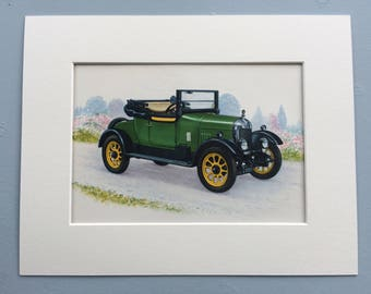 Morris 1924 Vintage Car Original Vintage 1950s Mounted and Matted Print - Automobile - Motor Car - Vehicle - Automobilia