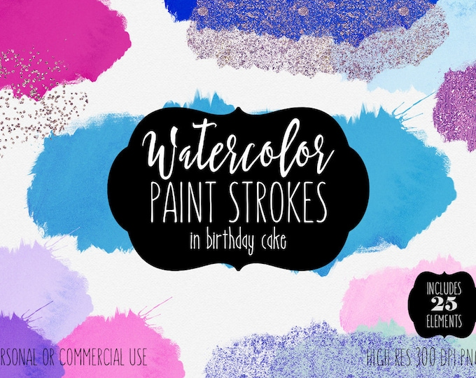 PINK & BLUE WATERCOLOR Brush Strokes Clipart Commercial Use Clip Art 25 Watercolor Paint Washes Metallic Confetti Textures Logo Graphics