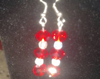 Red and crystal earrings