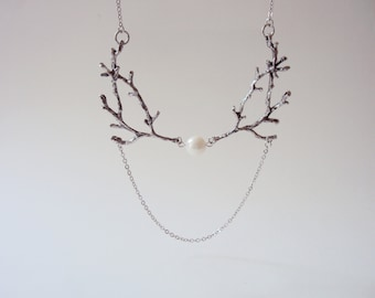 Silver Twig Necklace, Branch Necklace, Pearl Necklace, Nature Jewelry, Woodland, Forest Jewelry, Antlers Necklace,Coral