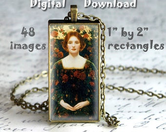 "Thomas E. Mostyn - Digital Download, 1"" by 2"" rectangles on 8.5 x 11 paper, printable images for pendants, bezel crafts"