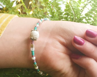 Purple, Turquoise & White Lava Bead Essential Oil Diffuser Memory Wire Bracelet, Aromatherapy Jewelry