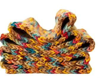 Multi coloured handknit scarf  unisex scarf  autumnal foliage colours  Bloom on golden ground // a scarf / handpainted merino