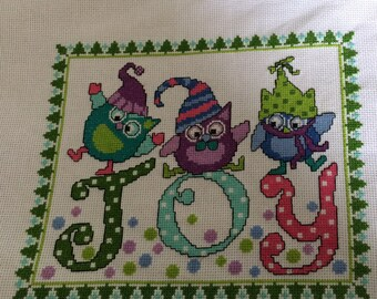 Christmas Joy completed cross stitch